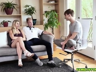 Stepson gets that hot blowjob from his blonde stepmom