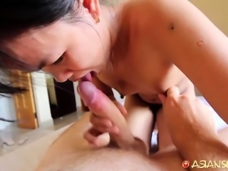 Tiny Asian with small hairy pussy milks tourist's cock with