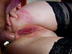 Blonde in stockings really loves doing anal