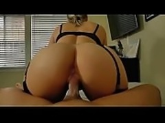 Blonde with stockings get pounded to cum on ass