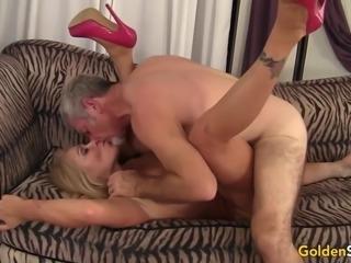 Older Blonde Crystal Taylor Rides Cock