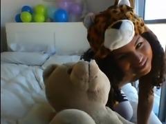 Petite Latina schoolgirl shows off her tiny tits on webcam