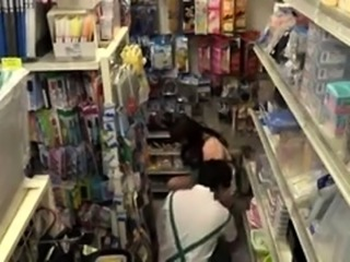 Bodacious Asian girl sucks and fucks a meat rod in the store