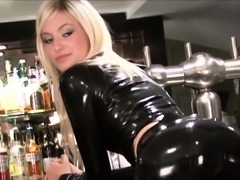 Classy latex barmaid Chritiana
