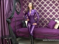 Jerri: purple latex catsuit