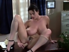 Pussy banged brunette slut toying nipples and clit