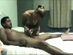 Cute blonde with small tits satisfies her interracial lust