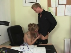 Sexy office woman in white stockings calls him for play