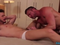 Muscle bottom anal sex and cumshot