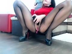 Nylon pantyhose and pussy masturbate