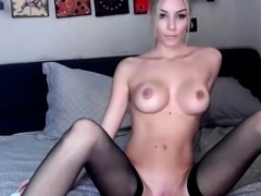 Blonde bombshell Anita Dark having a horny solo masturbation