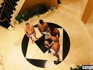 Wild gangbang party with stunning inked babe and BBCs