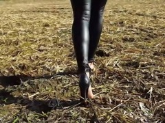 Sexy Dirty Feet And High Heels Walking