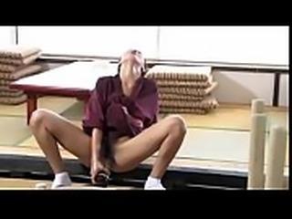 Japanese Milf boss masturbates with an empty bottle - ReMilf.com