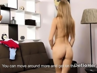 Skinny and tall virgin Lizka Gerenda rubs her shaved pussy