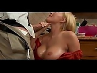 Krissy in the kitchen suck and fucks until his cock erupts