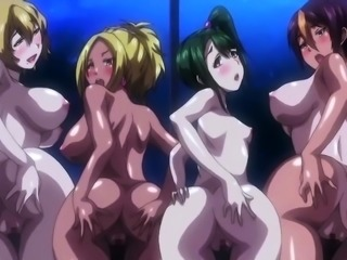 Sexy hentai babes get their squirting peaches pounded hard