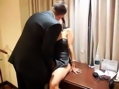 Sensual brunette milf gets fed a hard cock in a hotel room