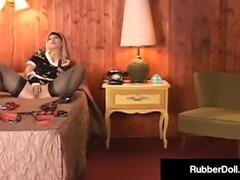 Shiny Femdom RubberDoll Finger Banged By Bright Latex Maid!