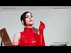 Sexy Italian Mistress in Red Latex