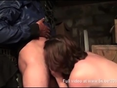 French BBw Florence gangbanged in a house basement