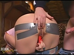 Duct tape anal creampie  free