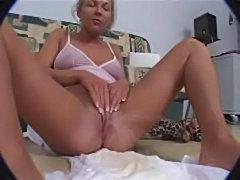 Piss blonde pees her diaper then masturbates  free