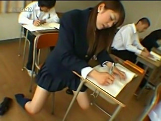 Japanese girl humps eraser in class  free