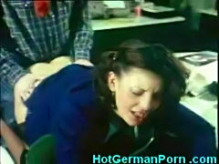 Classic German scene of office secretary having anal sex