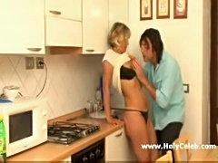 Mature blond milf in kitchen  free