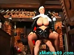 Horny mature nun in latex with slave free
