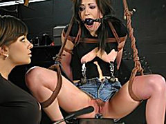 Chanta tortures this hogtied bitch