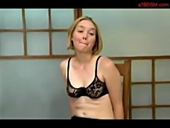 Blonde girl in lingerie whipped ass spanked to red by mistre free
