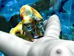 3D Toon slut fucked by an alien
