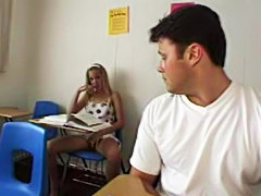 Filthy Teen Coed fucks in the classroom