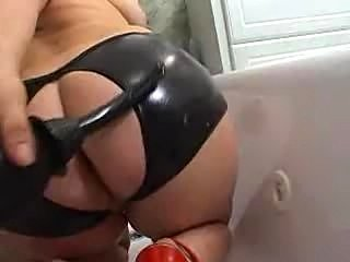 Some fat assed (nice looking) girl gets a piss enema, sucks a guy off and...