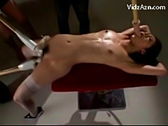 Slim girl tied to desk getting her mouth and pussy fucked st free