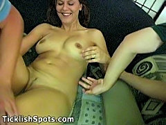 Megan Strips Panty and gets Tickled by Horny Guys