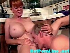 Granny with monster tits fucked in the kitchen