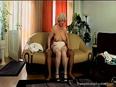 Big titty granny in stockings pounded
