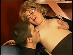 This older babe likes his young cock
