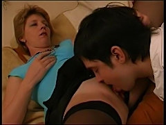 He eats and fucks the mature in stockings