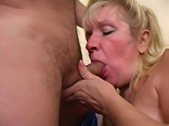 Chubby mature gives him head before riding