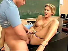 Milf Teacher gives private lessons in the classroom