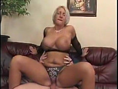 Blonde milf with big tits does BJ and hardcore