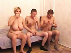 Russian mom fucked by  two guys