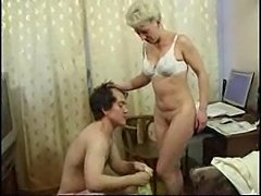Mature Woman Is Masturbating On PC And Boy Comes To Help