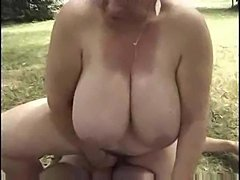 French fatty riding dick in the grass