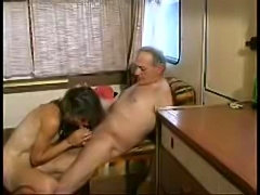 Old mature slut fucks and sucks in caravan, scene ends with facial