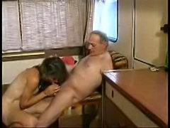 Old mature slut fucks and sucks in caravan, scene ends with facial